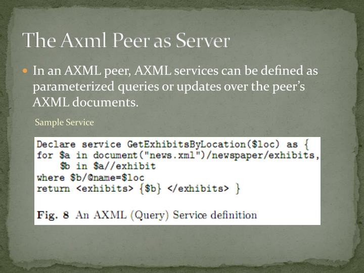 The Axml Peer as Server