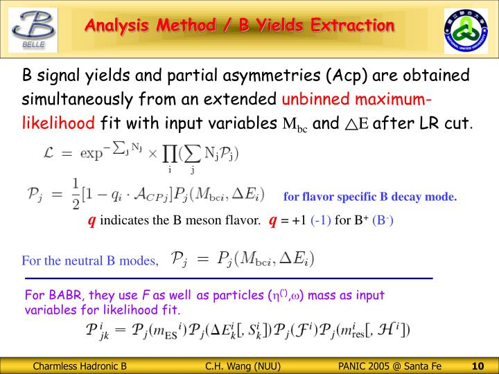 B signal yields and partial asymmetries (Acp) are obtained