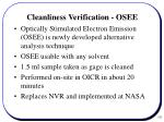 cleanliness verification osee