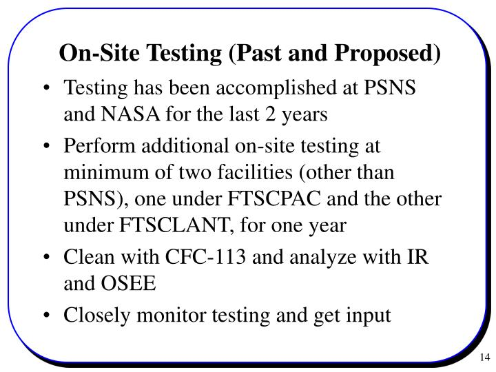 On-Site Testing (Past and Proposed)