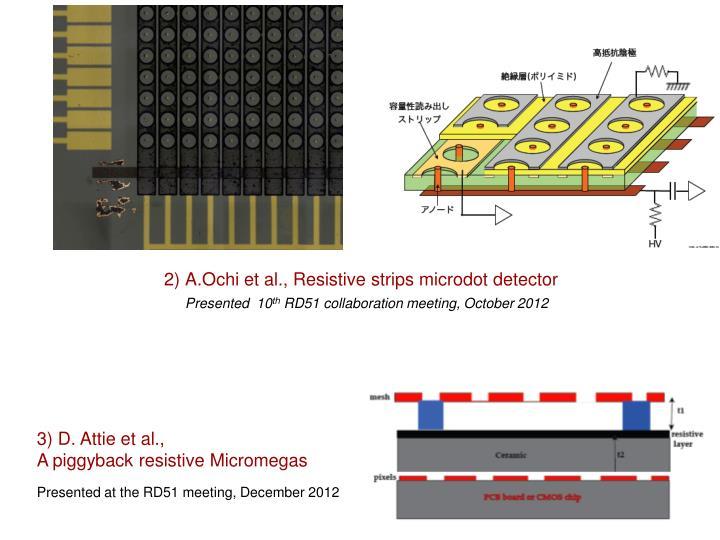 2) A.Ochi et al., Resistive strips microdot detector