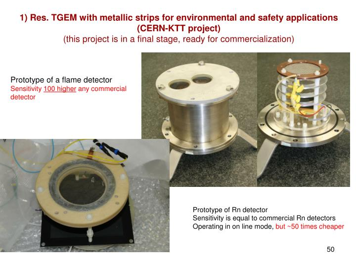 1) Res. TGEM with metallic strips for environmental and safety applications