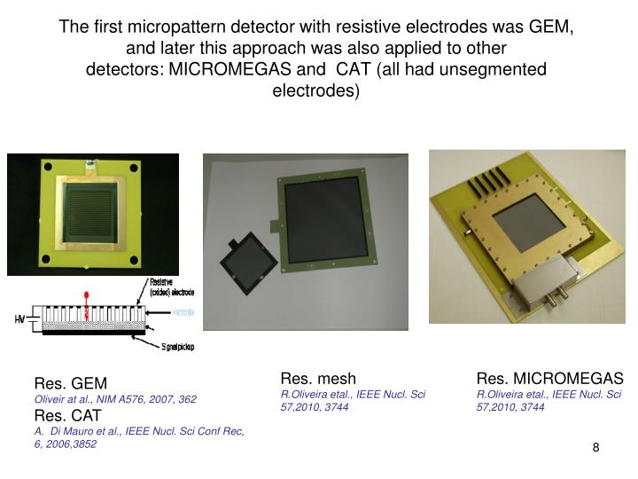 The first micropattern detector with resistive electrodes was GEM, and later this approach was also applied to other