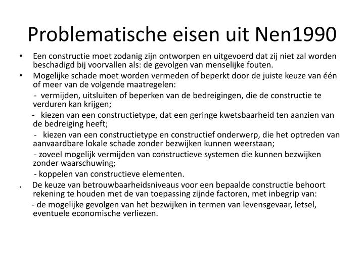 Problematische eisen uit Nen1990