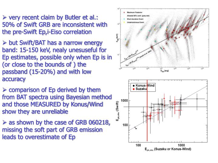 very recent claim by Butler et al.: 50% of Swift GRB are inconsistent with the pre-Swift Ep,i-Eiso correlation