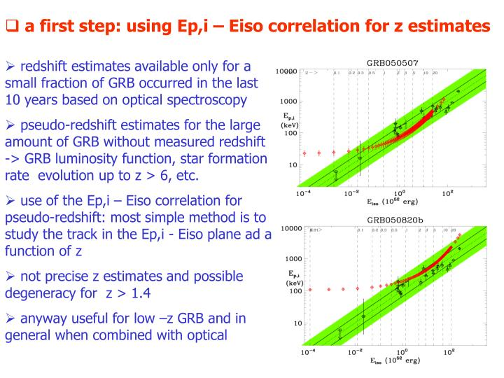 a first step: using Ep,i – Eiso correlation for z estimates
