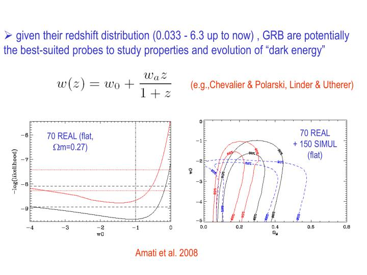 "given their redshift distribution (0.033 - 6.3 up to now) , GRB are potentially the best-suited probes to study properties and evolution of ""dark energy"""