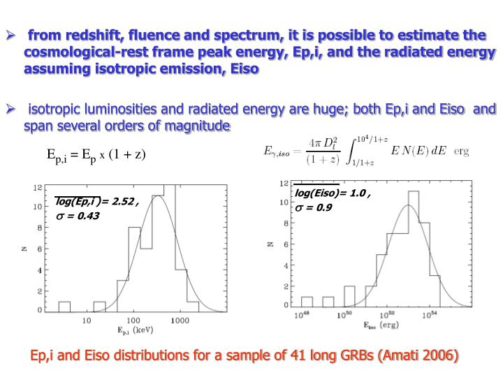 from redshift, fluence and spectrum, it is possible to estimate the cosmological-rest frame peak energy, Ep,i, and the radiated energy assuming isotropic emission, Eiso