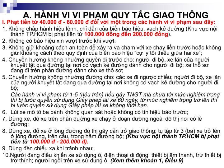 A. HÀNH VI VI PHẠM QUY TẮC GIAO THÔNG