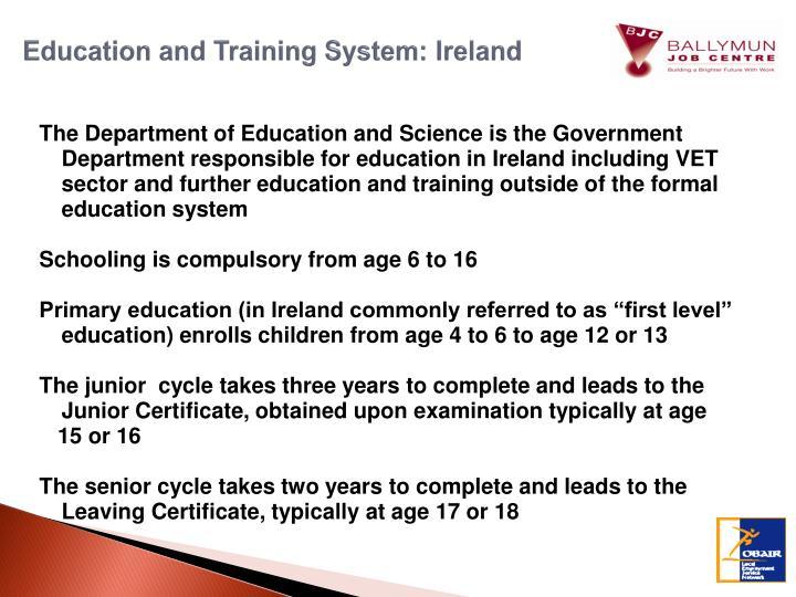 Education and Training System: Ireland