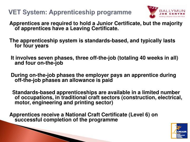 VET System: Apprenticeship programme