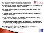 vet system apprenticeship programme