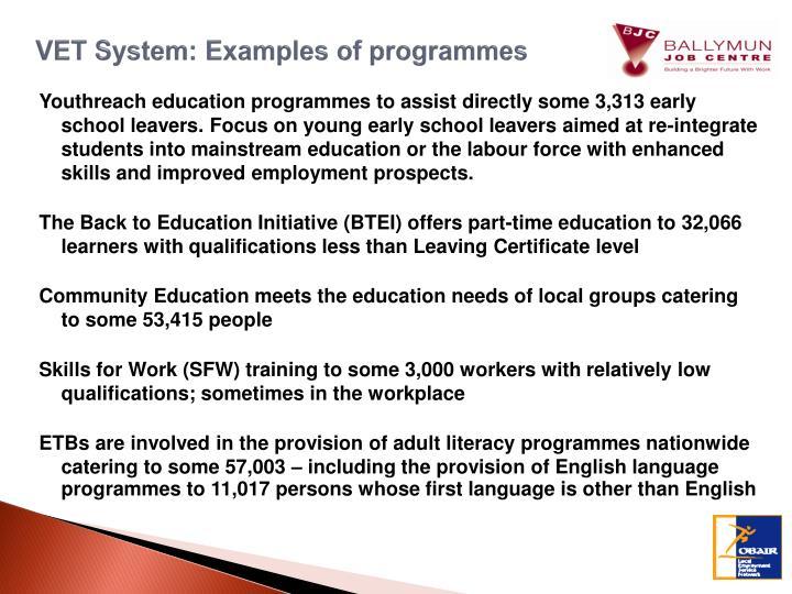 VET System: Examples of programmes