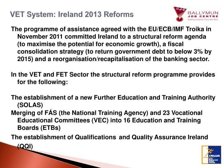 VET System: Ireland 2013 Reforms