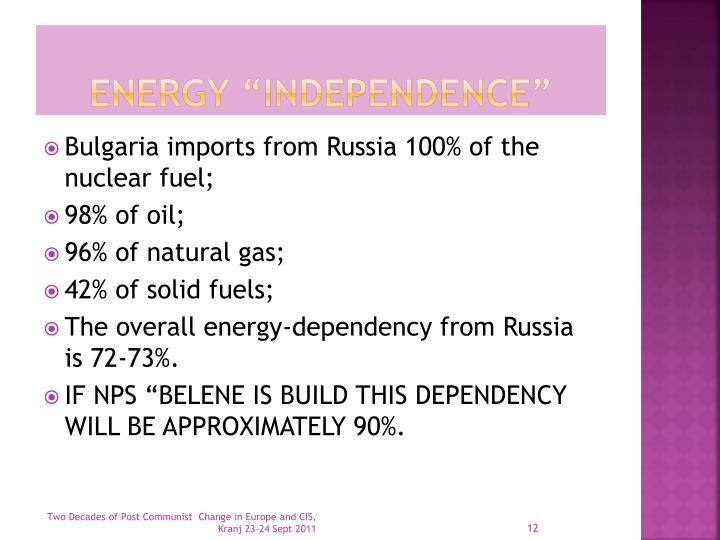 """Energy """"independence"""""""