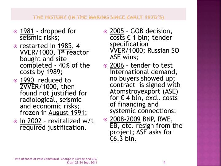 The history (in the making since early 1970's