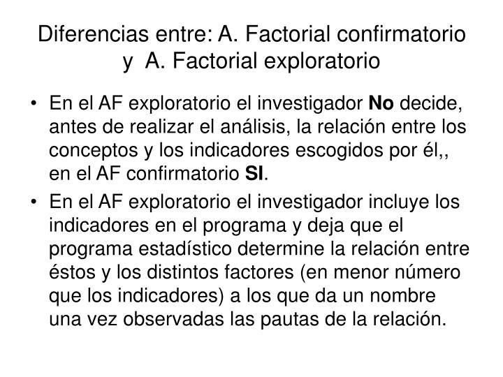 Diferencias entre: A. Factorial confirmatorio y  A. Factorial exploratorio