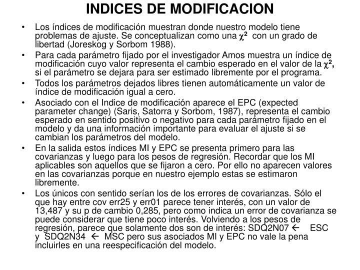 INDICES DE MODIFICACION
