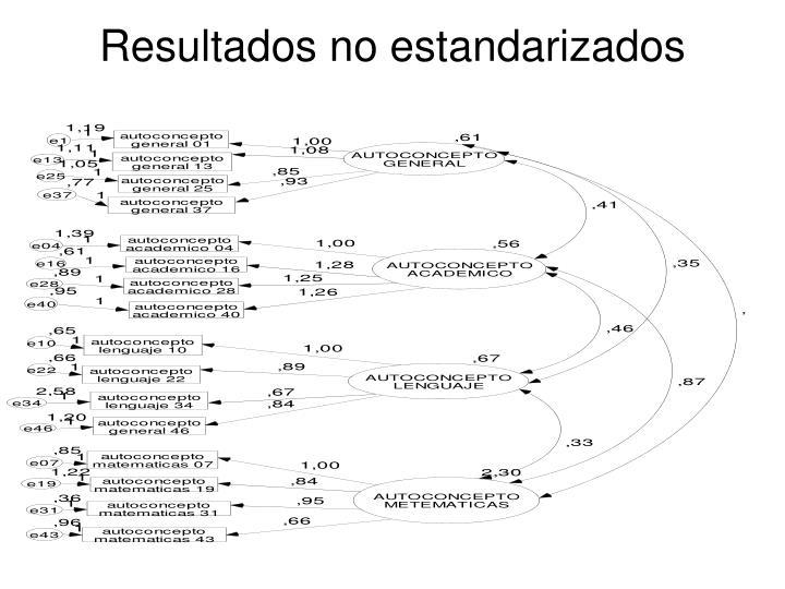 Resultados no estandarizados