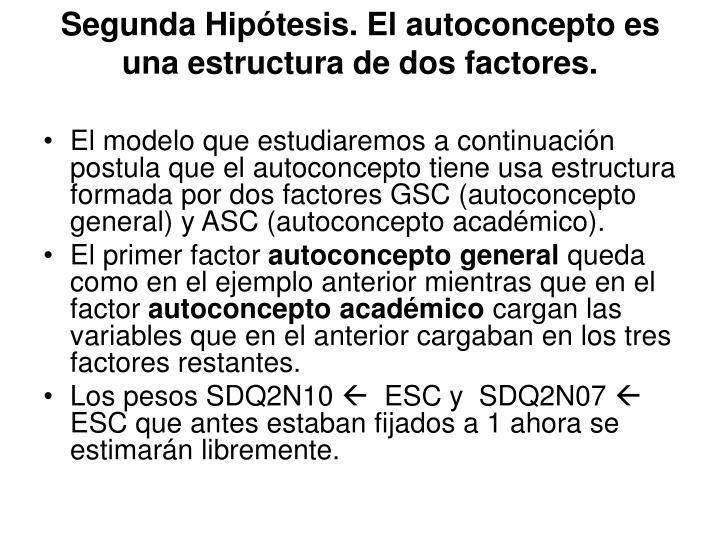 Segunda Hipótesis. El autoconcepto es una estructura de dos factores.