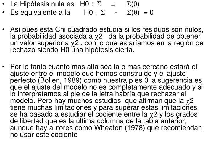 La Hipótesis nula es   H0 :
