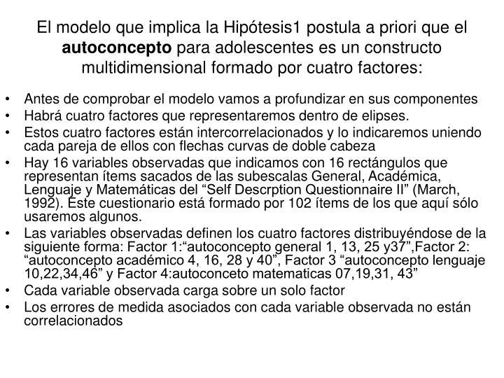 El modelo que implica la Hipótesis1 postula a priori que el