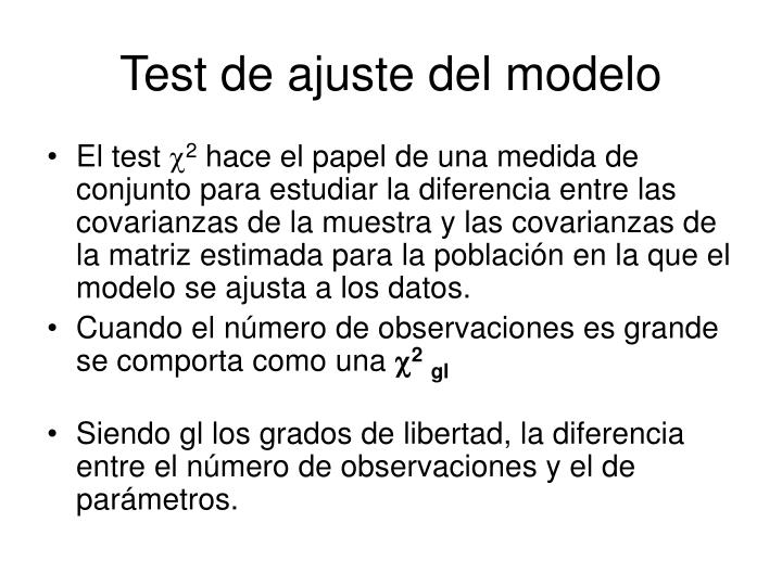 Test de ajuste del modelo