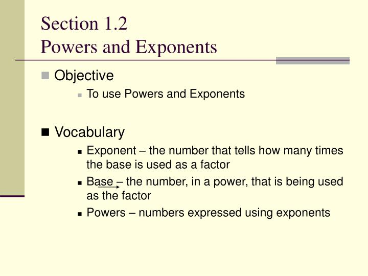 Section 1 2 powers and exponents