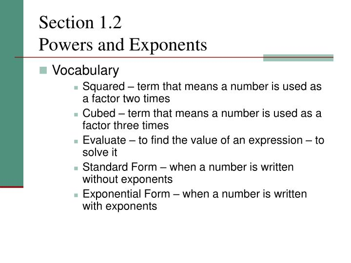 Section 1 2 powers and exponents1
