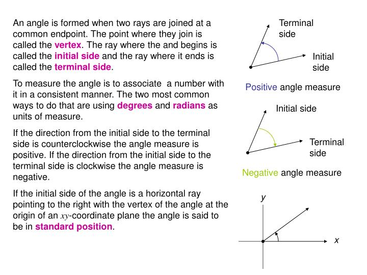 An angle is formed when two rays are joined at a common endpoint. The point where they join is called the