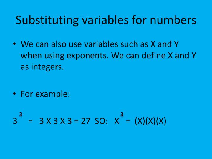 Substituting variables for numbers