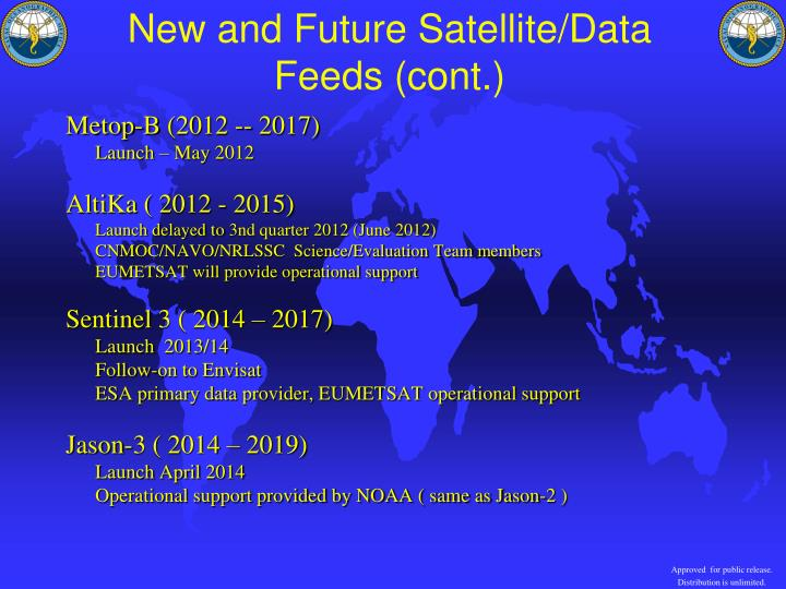 New and Future Satellite/Data Feeds (cont.)