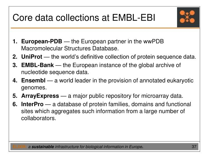 Core data collections at EMBL-EBI