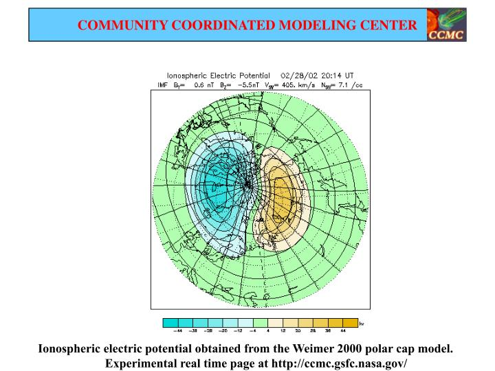 Ionospheric electric potential obtained from the Weimer 2000 polar cap model.