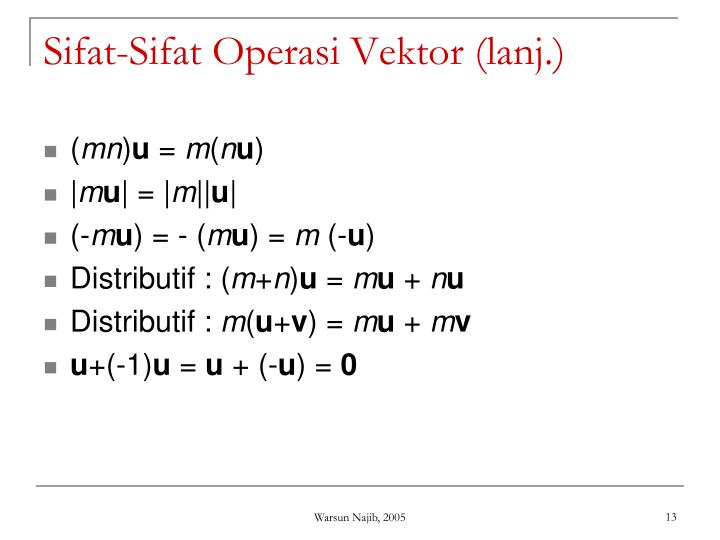 Sifat-Sifat Operasi Vektor (lanj.)