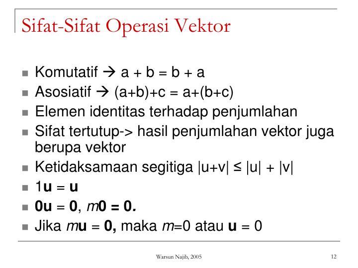 Sifat-Sifat Operasi Vektor