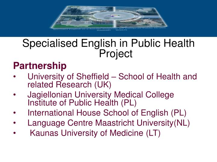 Specialised English in Public Health
