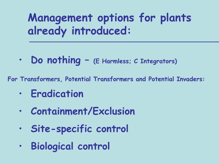 Management options for plants    already introduced: