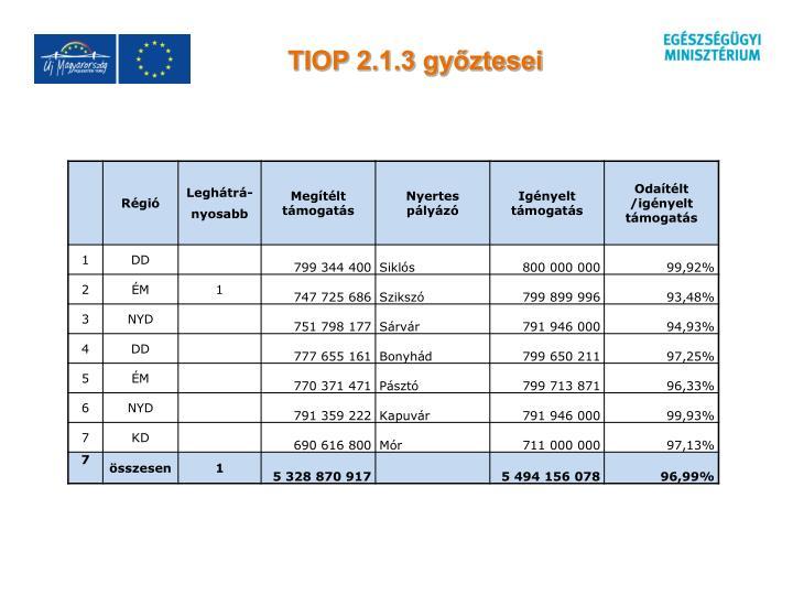 TIOP 2.1.3 győztesei