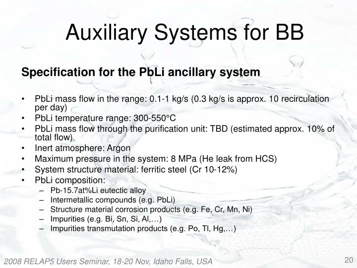 Auxiliary Systems for BB