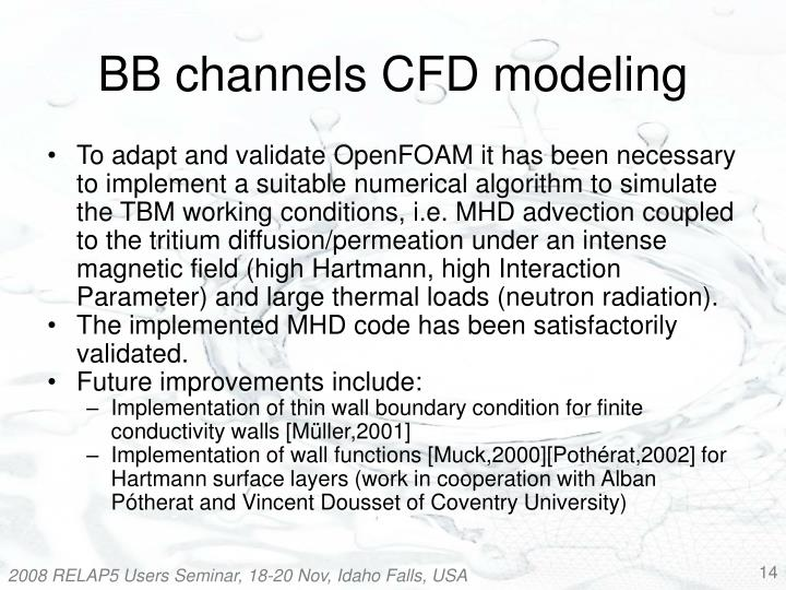 BB channels CFD modeling