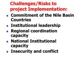challenges risks to project implementation