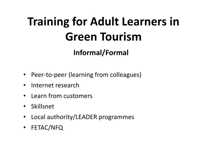 Training for Adult Learners in Green Tourism