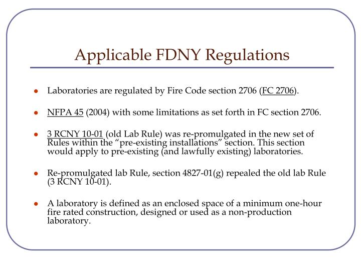 Applicable FDNY Regulations