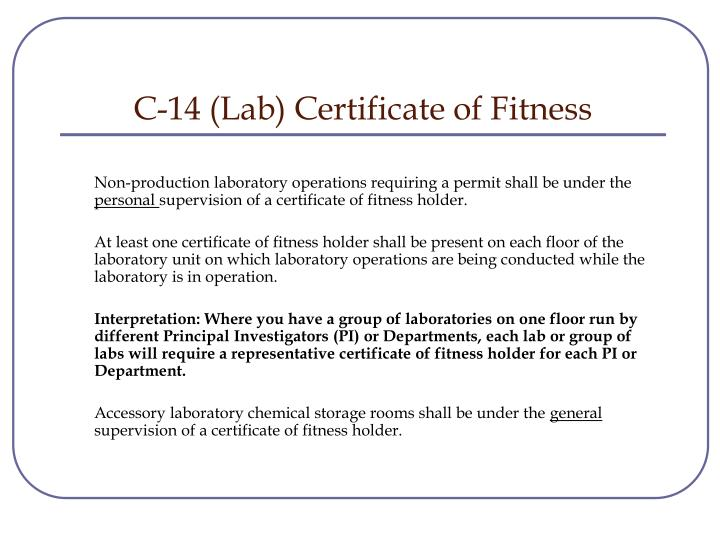 C-14 (Lab) Certificate of Fitness
