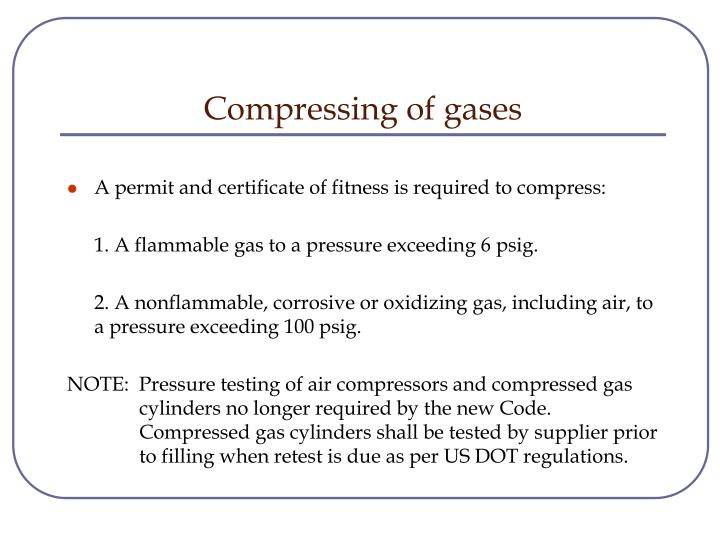 Compressing of gases