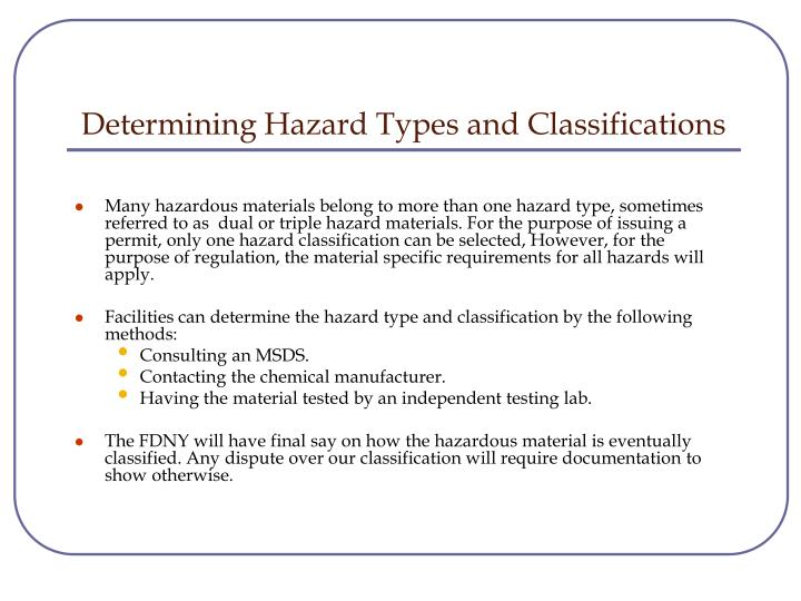 Determining Hazard Types and Classifications