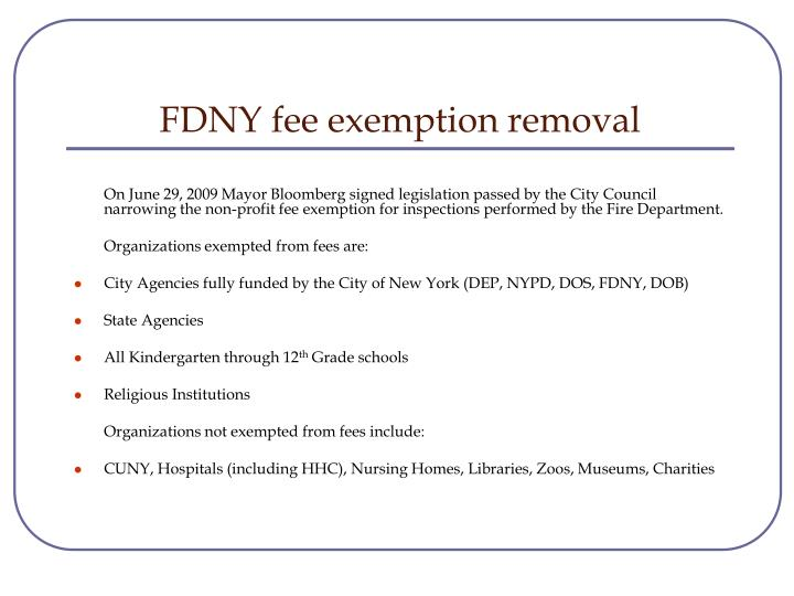 FDNY fee exemption removal
