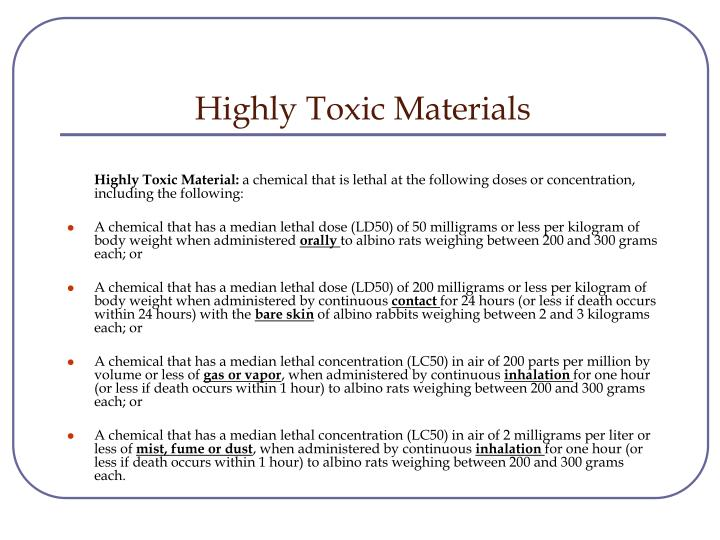 Highly Toxic Materials