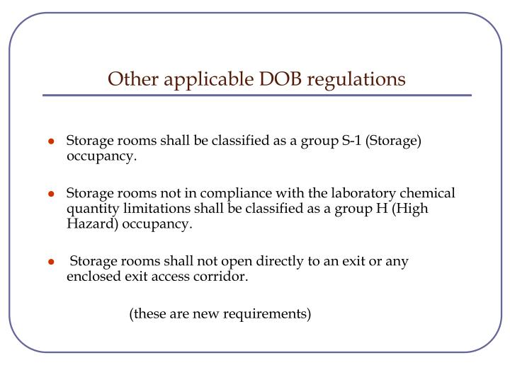 Other applicable DOB regulations